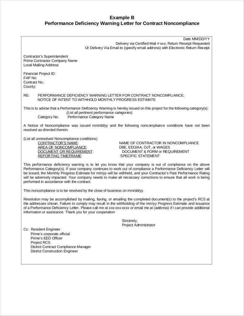 10+ Professional Warning Letters Template | Free & Premium Intended For Construction Deficiency Report Template
