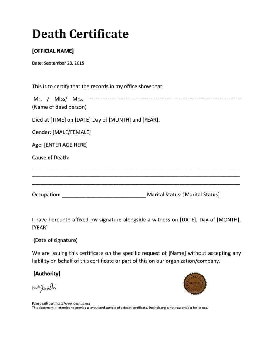 37 Blank Death Certificate Templates [100% Free] ᐅ Templatelab Inside Blank Legal Document Template