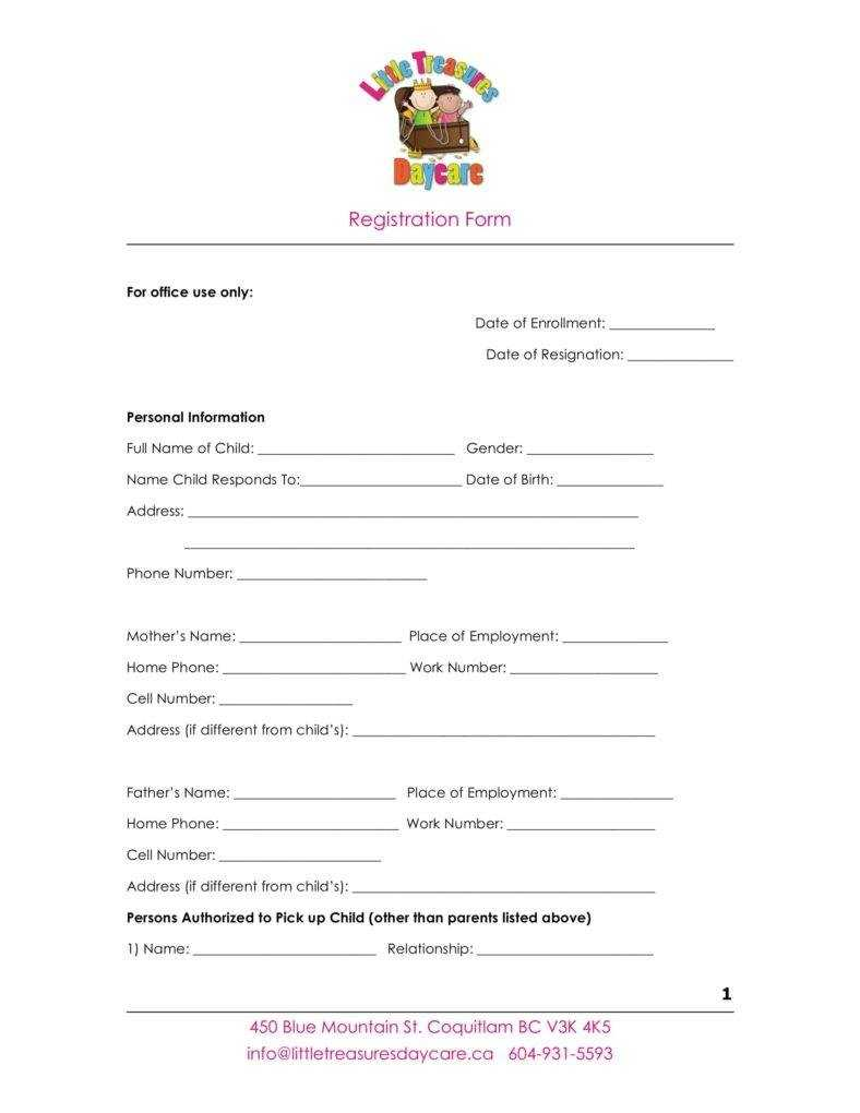9+ Daycare Application Form Templates – Free Pdf, Doc Format Inside Registration Form Template Word Free