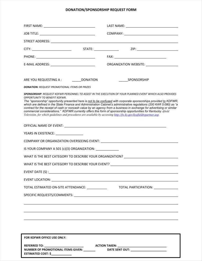 9+ Donation Application Form Templates Free Pdf Format For Blank Sponsorship Form Template