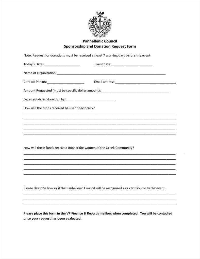 9+ Donation Application Form Templates Free Pdf Format With Blank Sponsorship Form Template