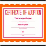 Adoption Certificate Template – Certificate Templates in Blank Adoption Certificate Template