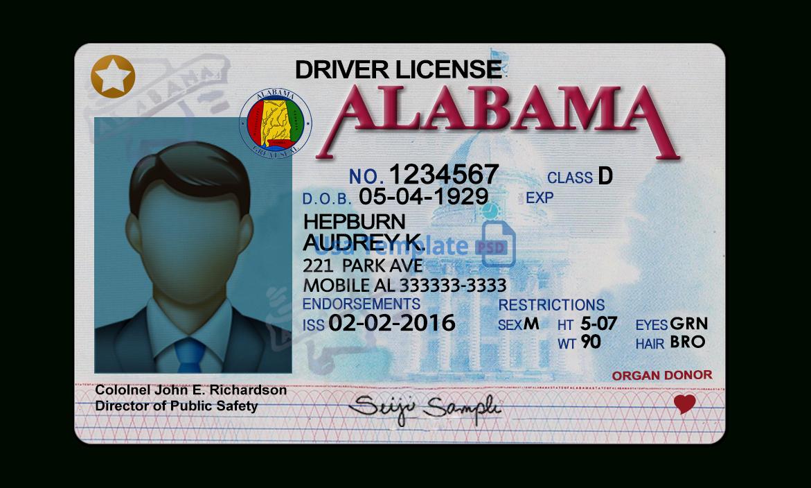 Alabama Driver License Template Regarding Blank Drivers License Template