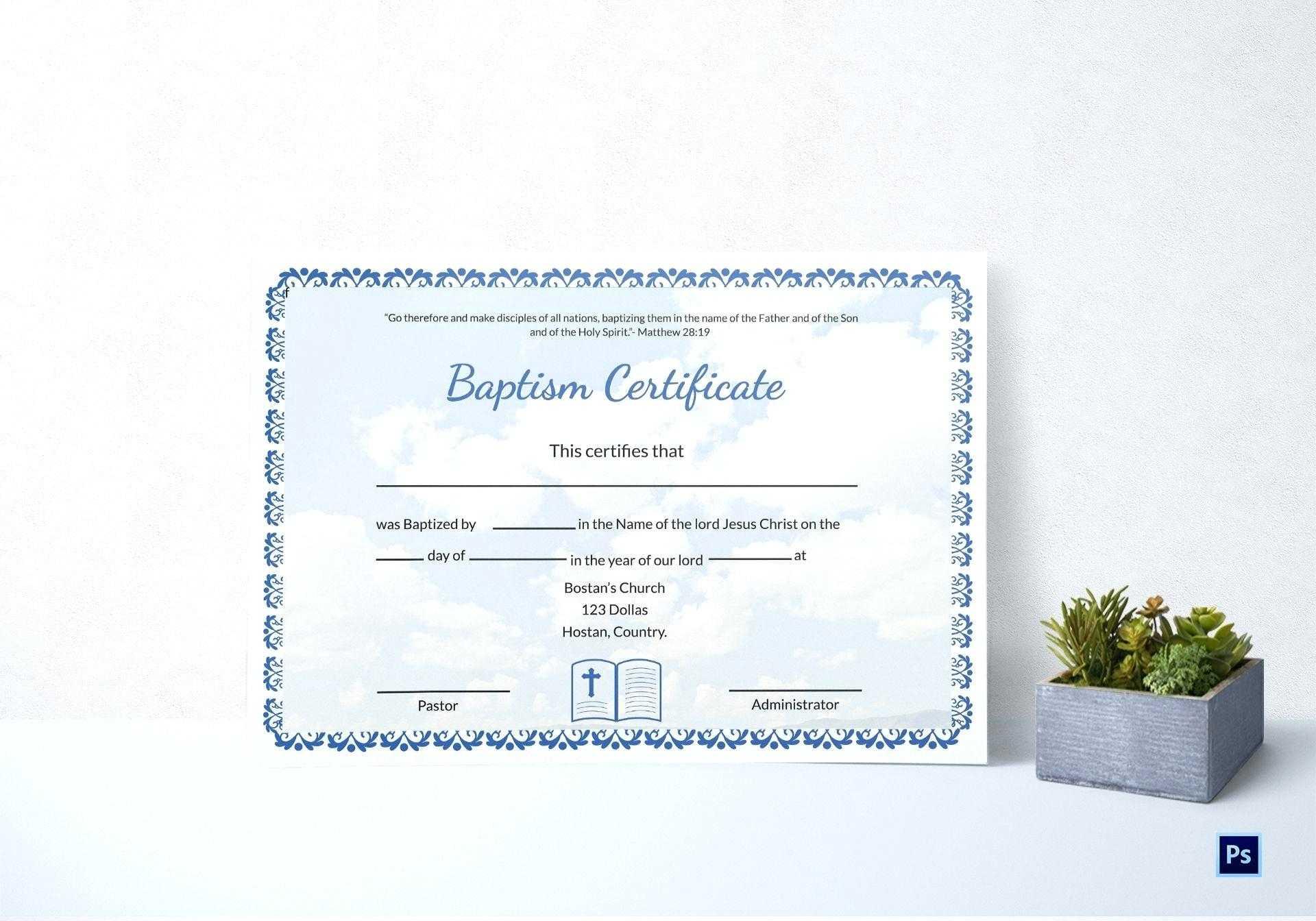 Baptism Certificate Template Word – Heartwork In Baptism Certificate Template Word