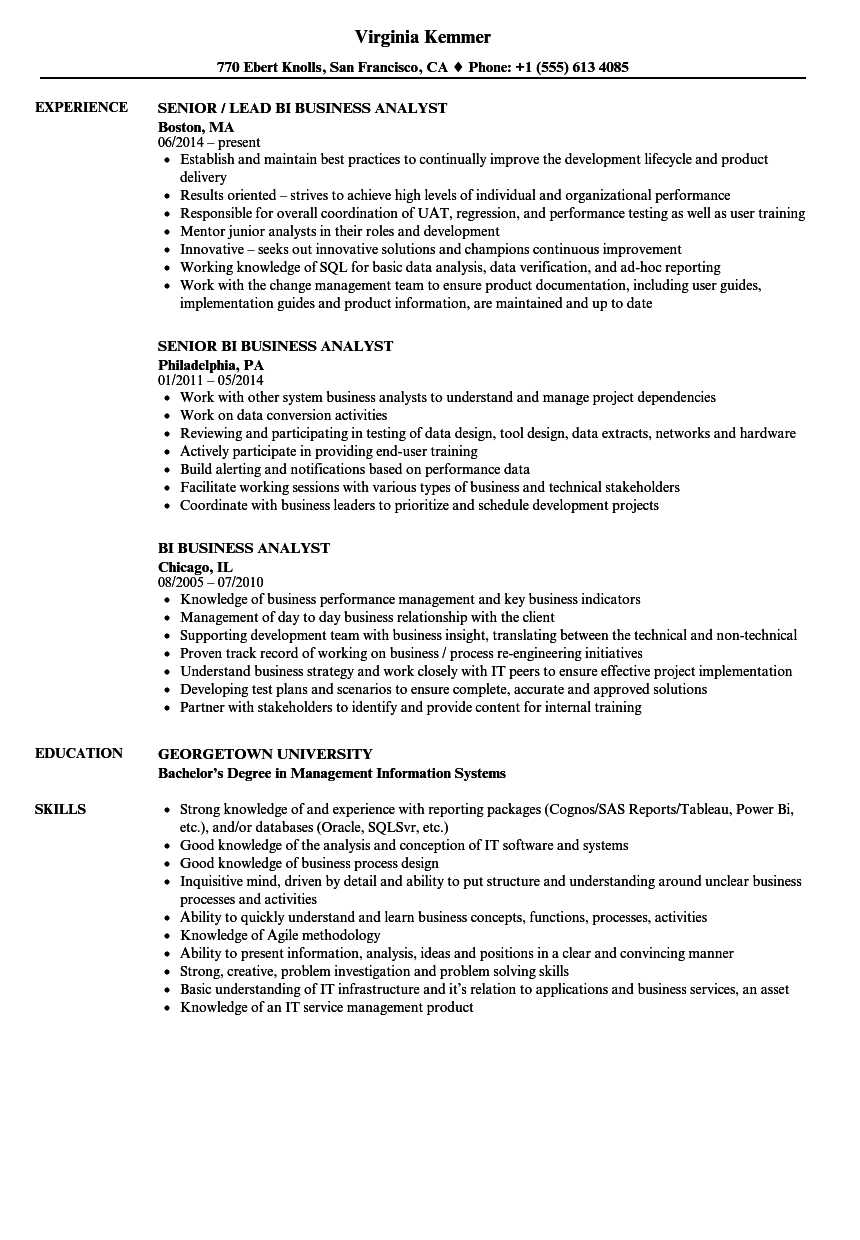 Bi Business Analyst Resume Samples | Velvet Jobs With Regard To Business Analyst Report Template