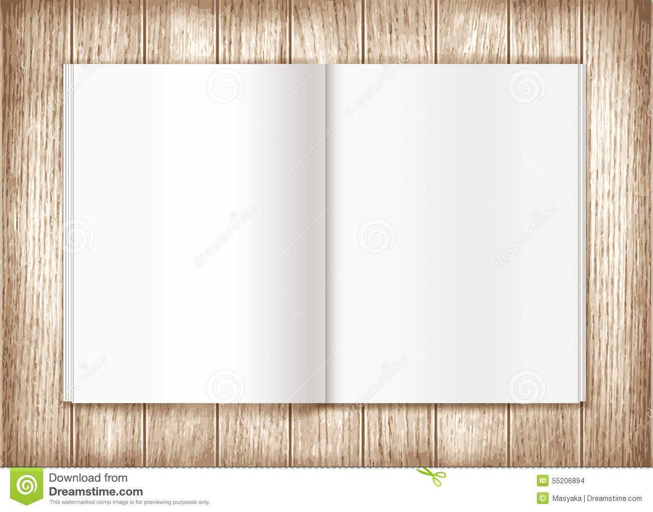 Blank Magazine On Wooden Background. Template Stock With Blank Magazine Spread Template