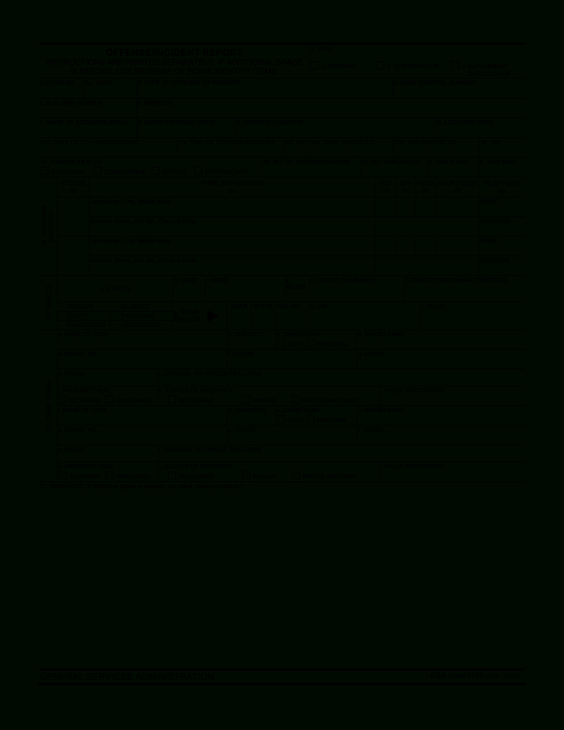 Blank Police Report Template | Templates At For Blank Police Report Template