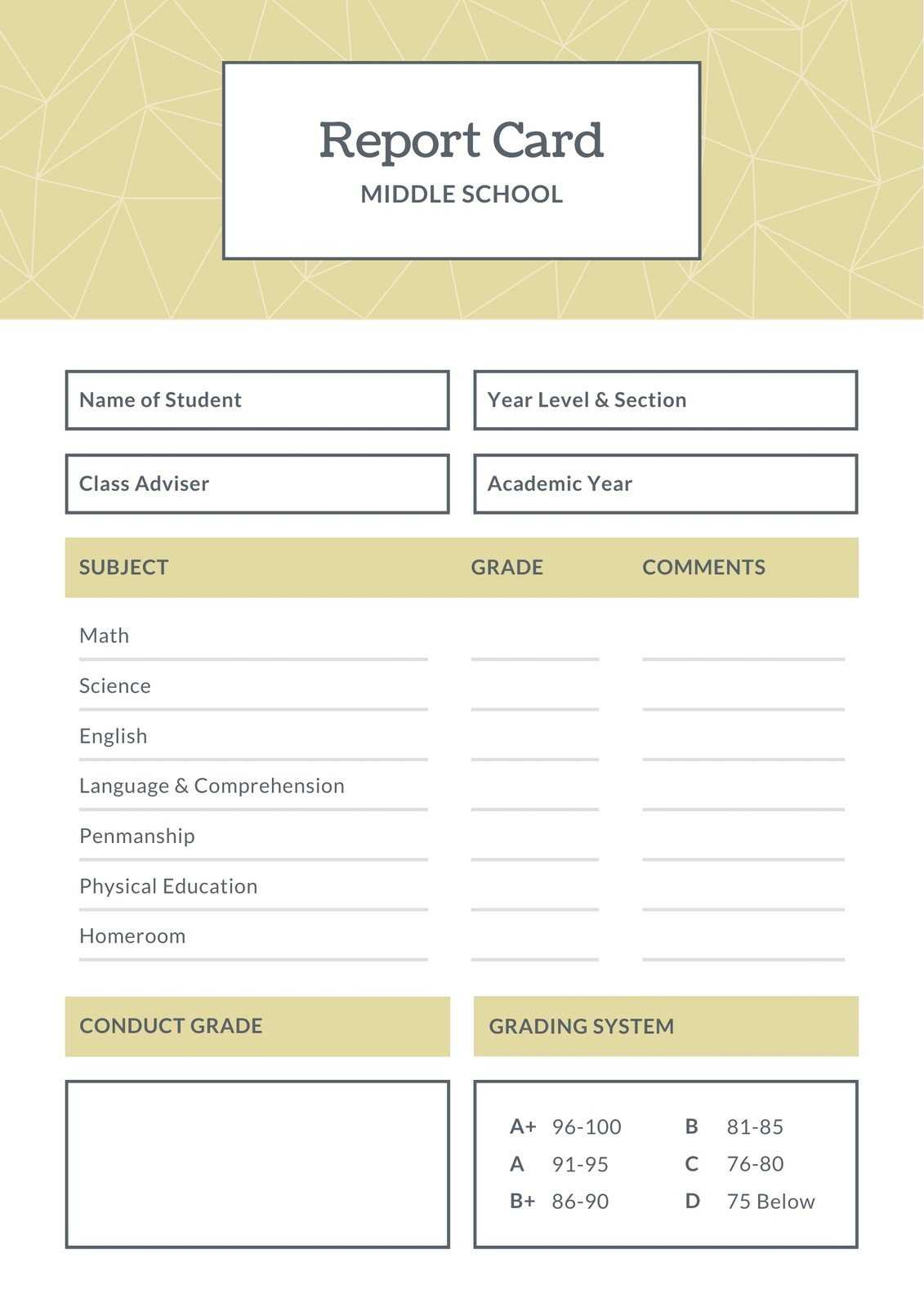 Blue And Brown Middle School Report Card – Templatescanva Within Middle School Report Card Template