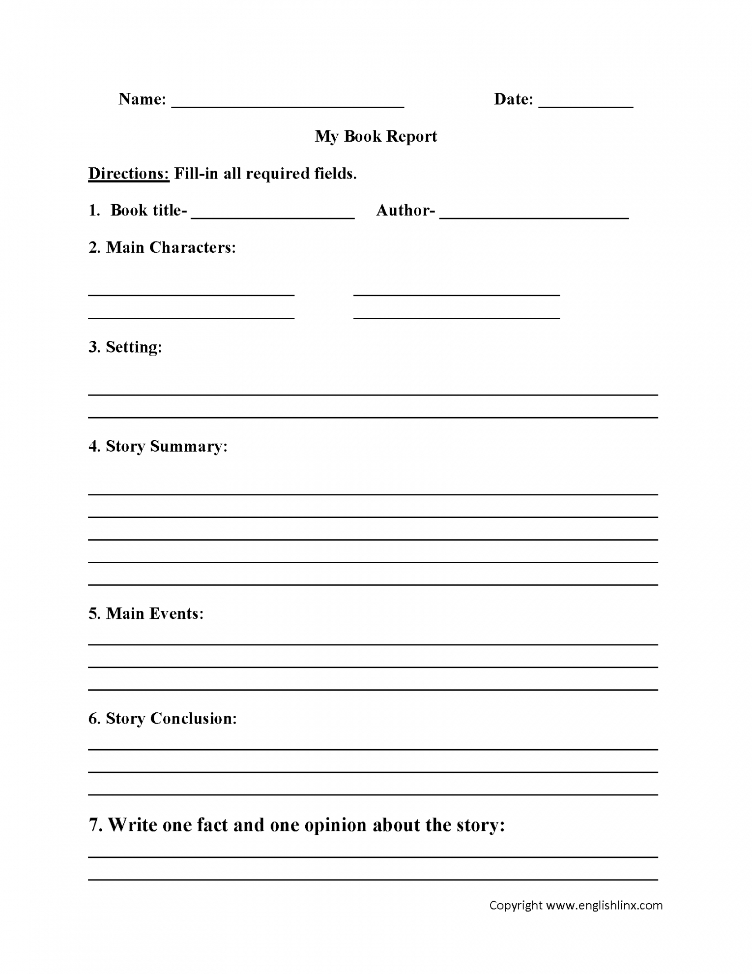 Book Report Template 8Th Grade With Megger Test Report Template