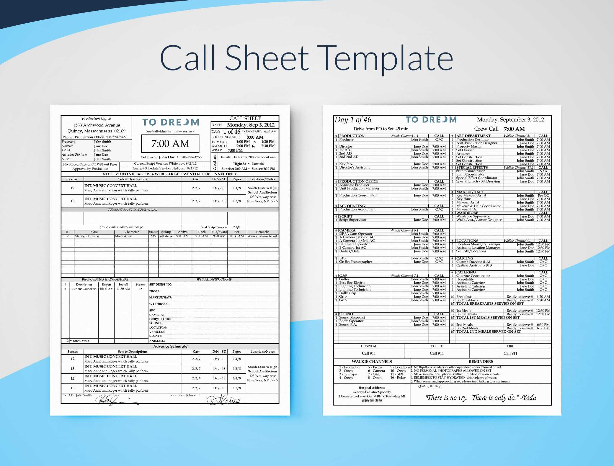 Call Sheet Template For Excel – Free Download   Sethero In Blank Call Sheet Template