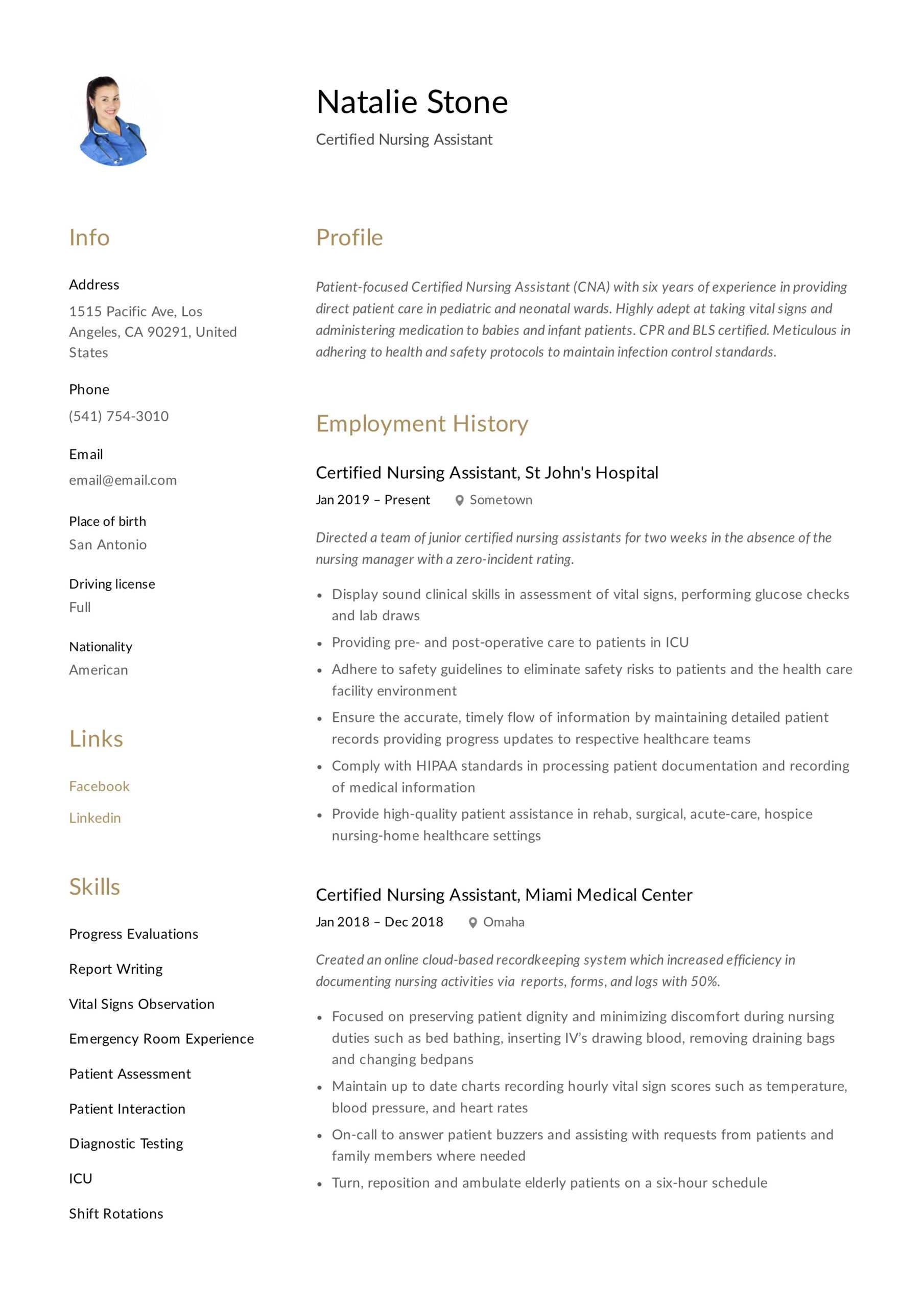 Certified Nursing Assistant Resume & Writing Guide   12 Pertaining To Nursing Assistant Report Sheet Templates