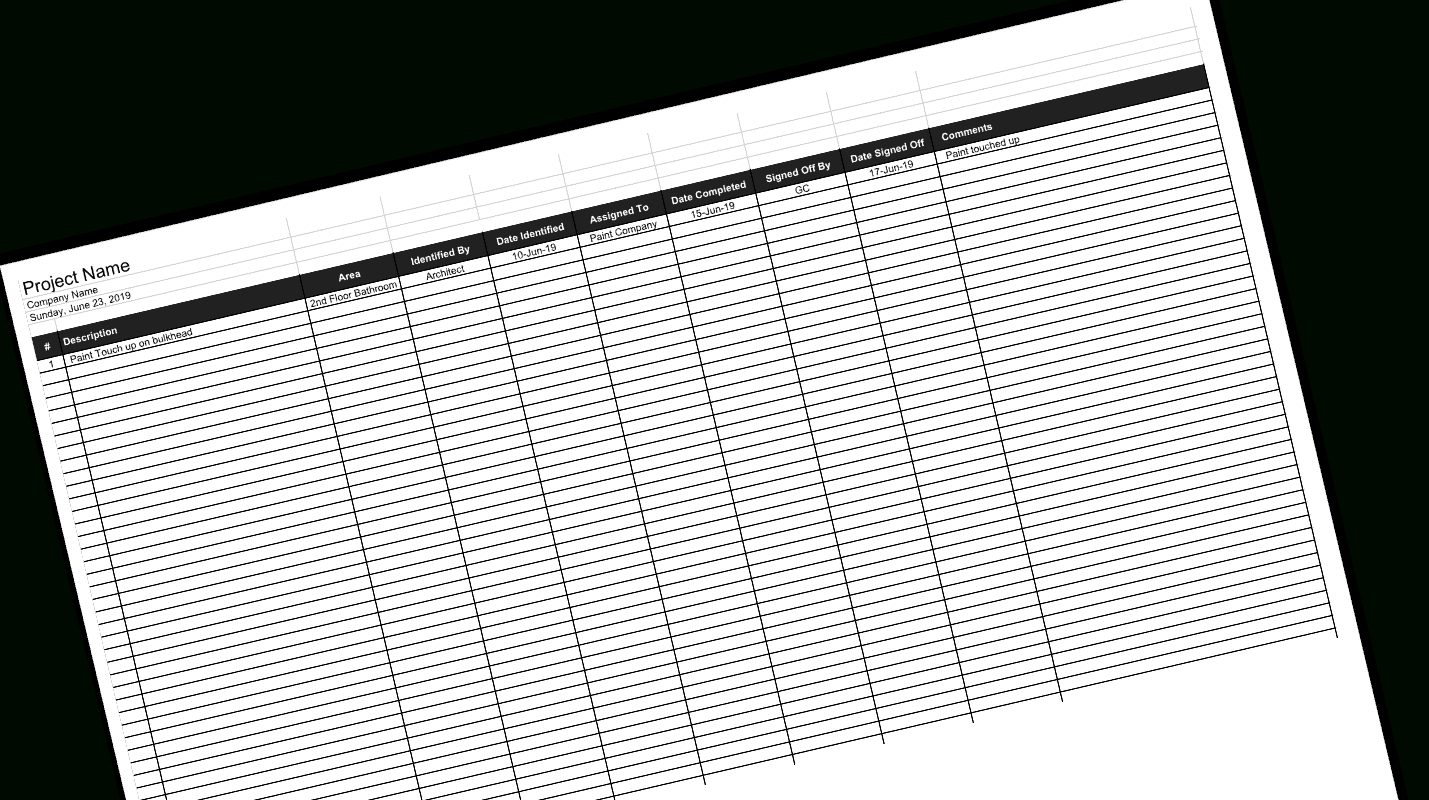 Construction Deficiency Log And Punch List Template With Regard To Construction Deficiency Report Template
