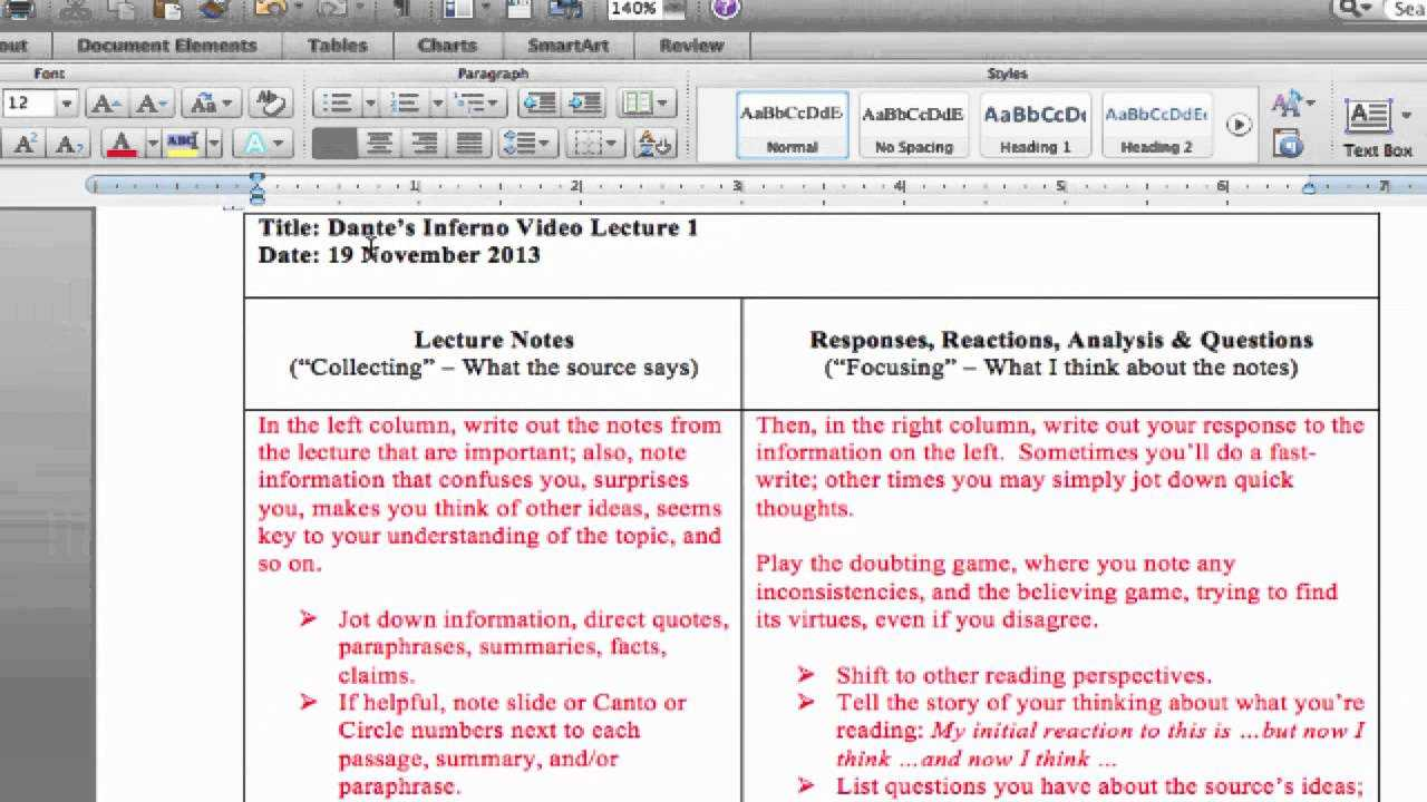Cornell Notes / Double Entry Journal – Taking Notes In Double Entry Journal Template For Word