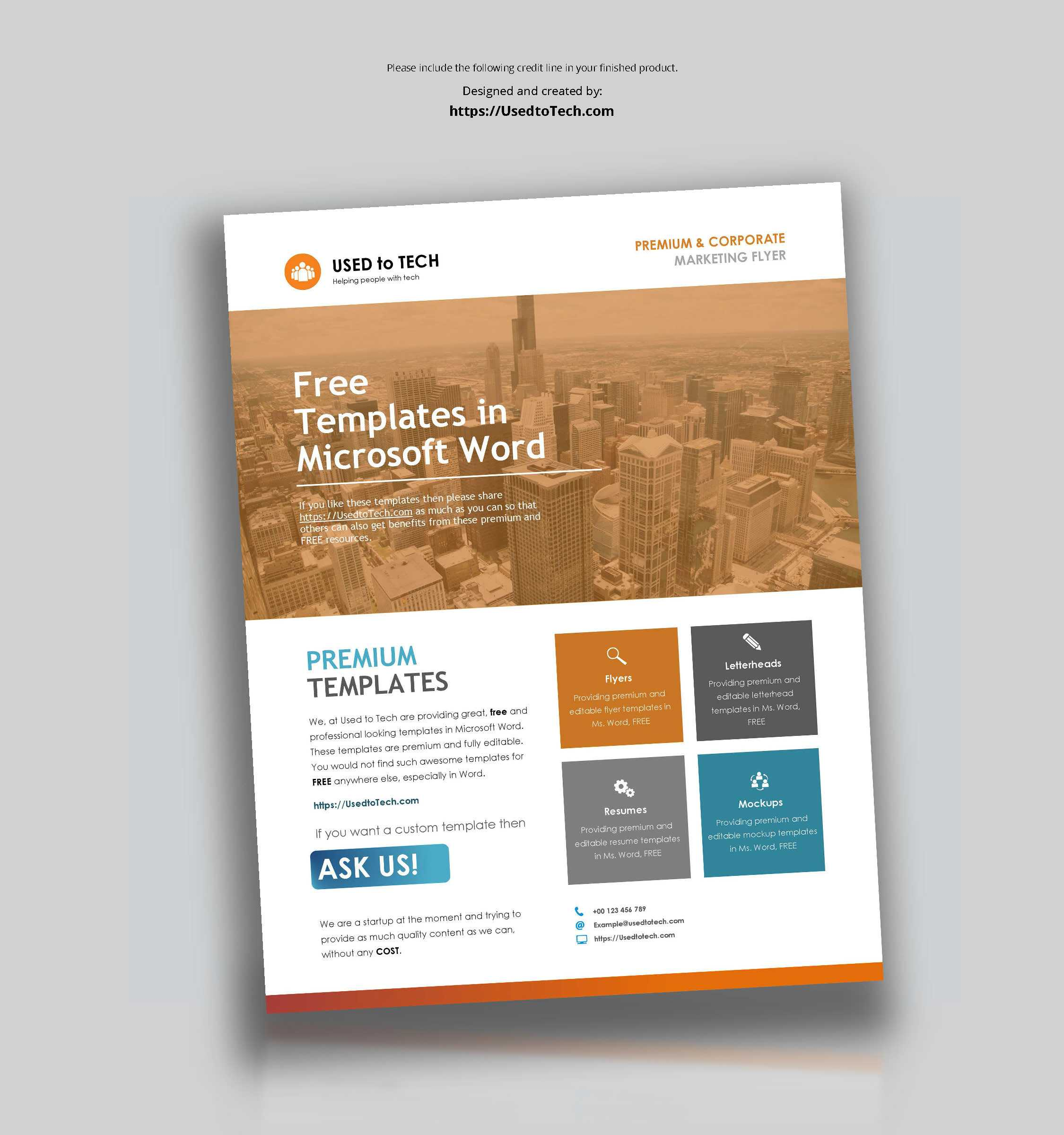 Corporate Flyer Design In Microsoft Word Free - Used To Tech For Free Business Flyer Templates For Microsoft Word