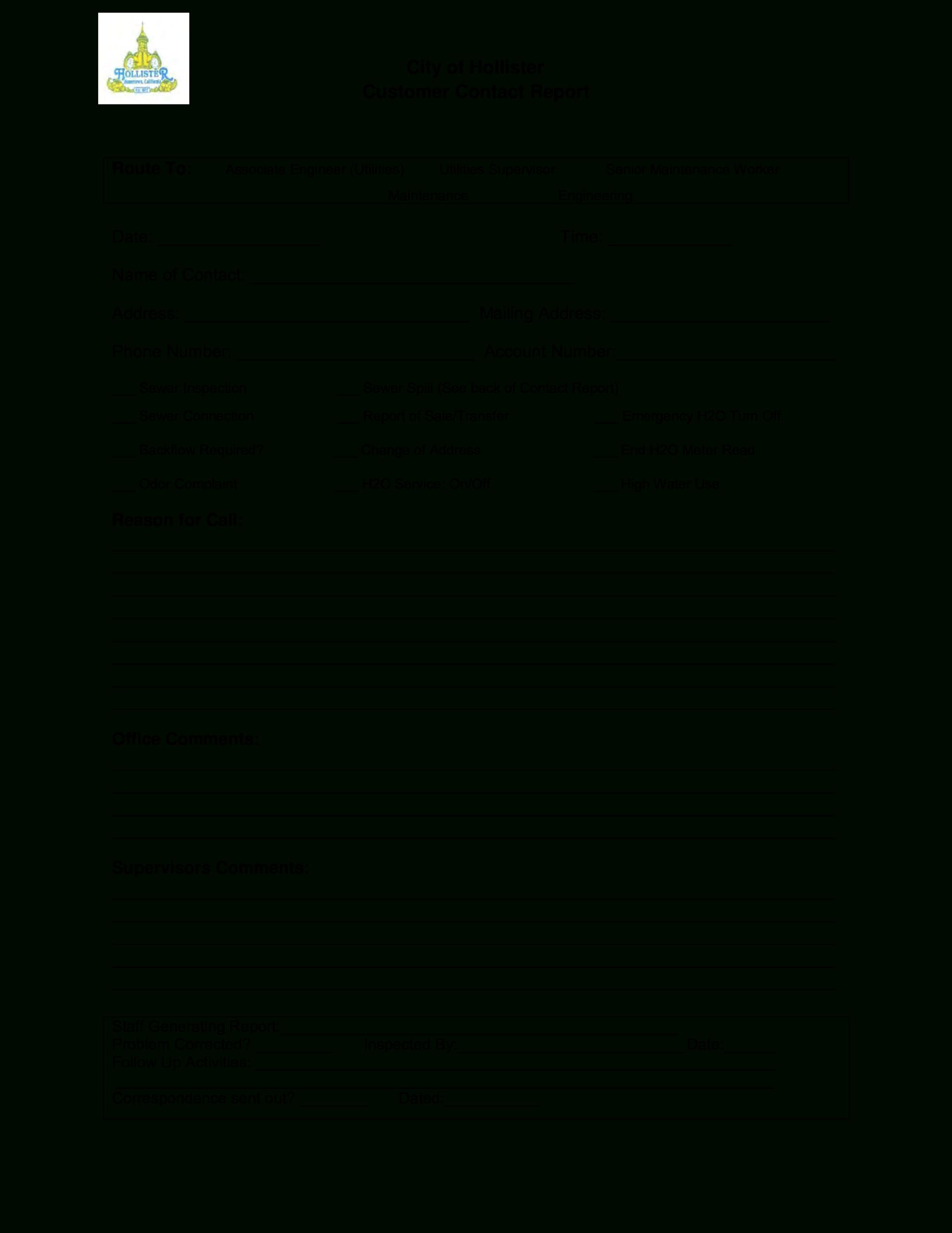 Customer Contact Report   Templates At Allbusinesstemplates With Regard To Customer Contact Report Template