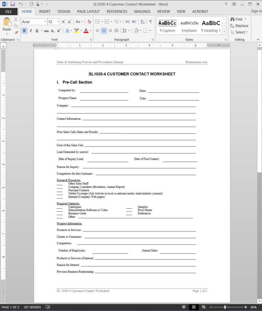 Customer Contact Worksheet Template   Sl1030 4 Throughout Customer Contact Report Template