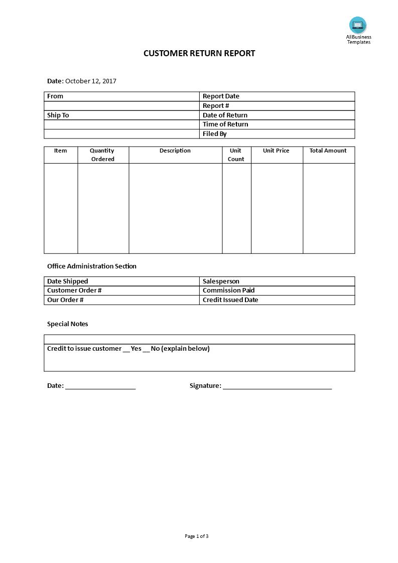 Customer Service – Customer Return Report   Templates At In Customer Contact Report Template