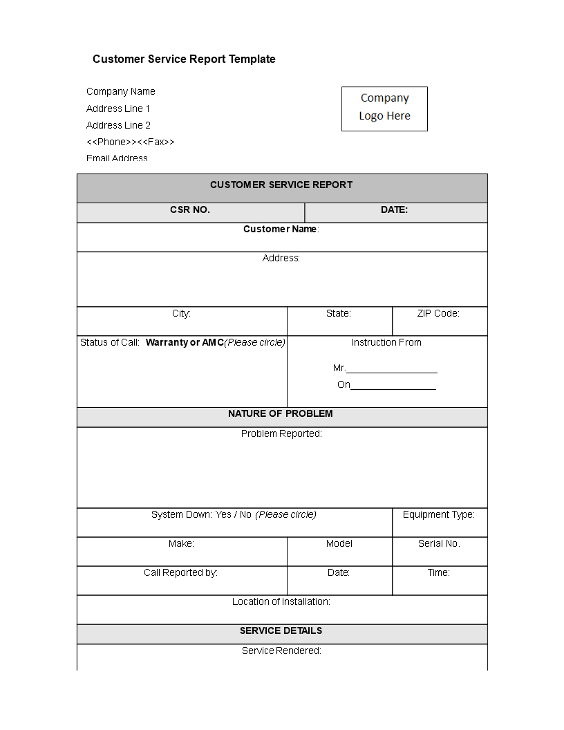 Customer Service Report Template | Templates At Regarding Customer Contact Report Template