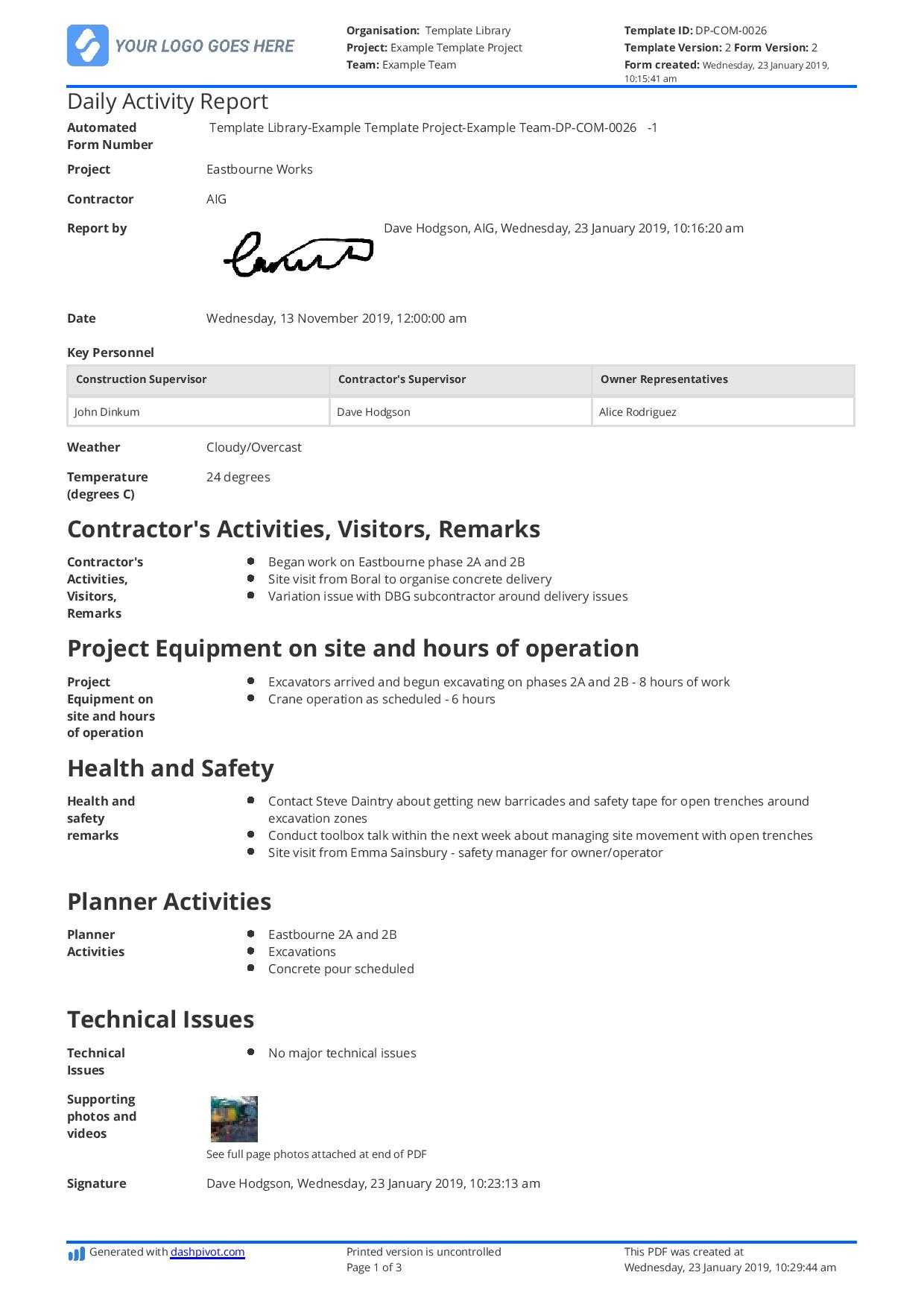 Daily Activity Report Template [Free And Better Than Excel In Daily Site Report Template