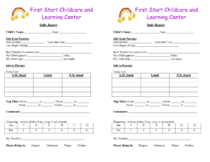 Daycare Infant Daily Report Template And Baby Log Forms regarding Daycare Infant Daily Report Template