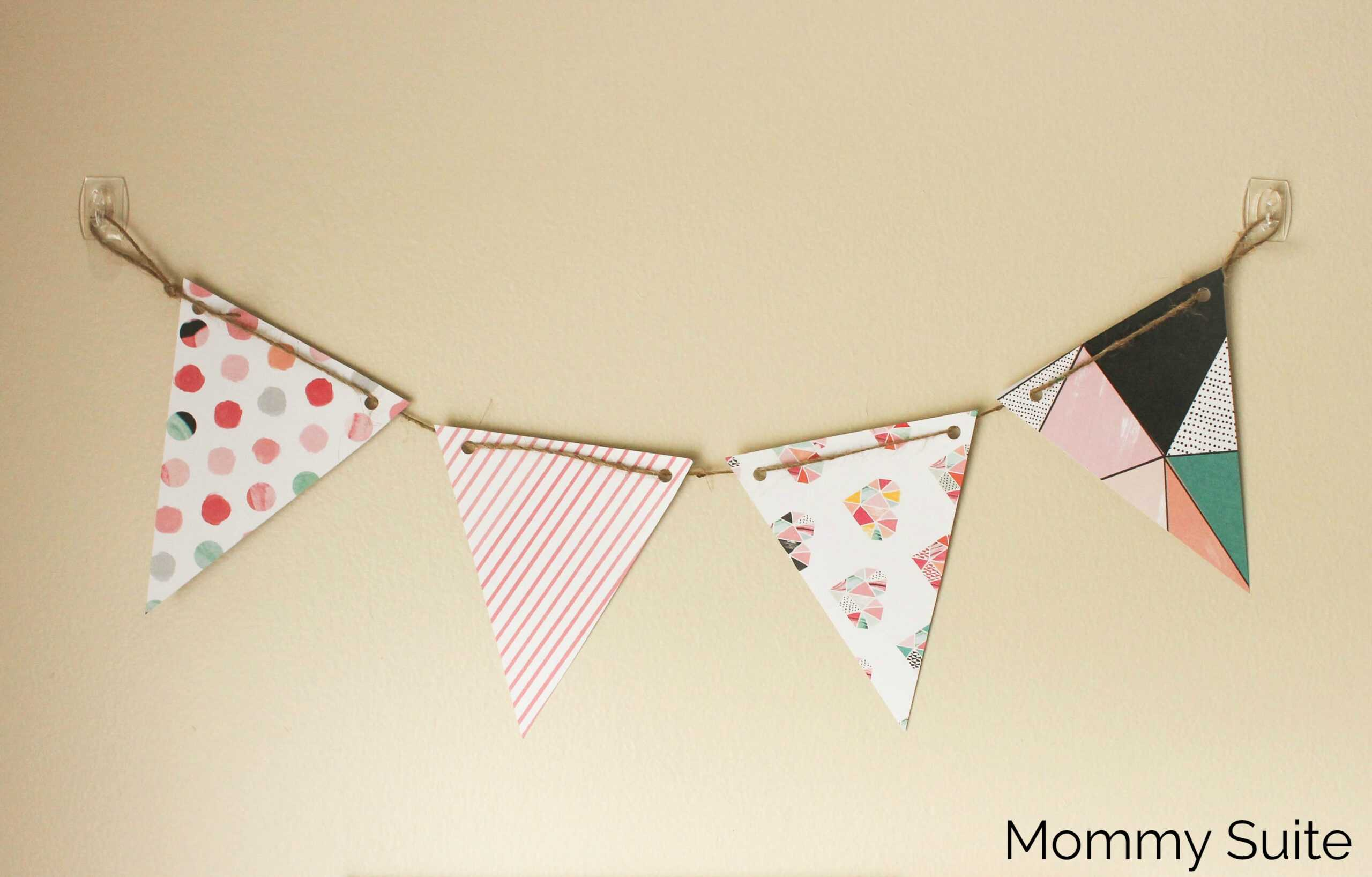 Diy Paper Pennant Banner (W/ Free Template) - Mommy Suite With Regard To Triangle Pennant Banner Template
