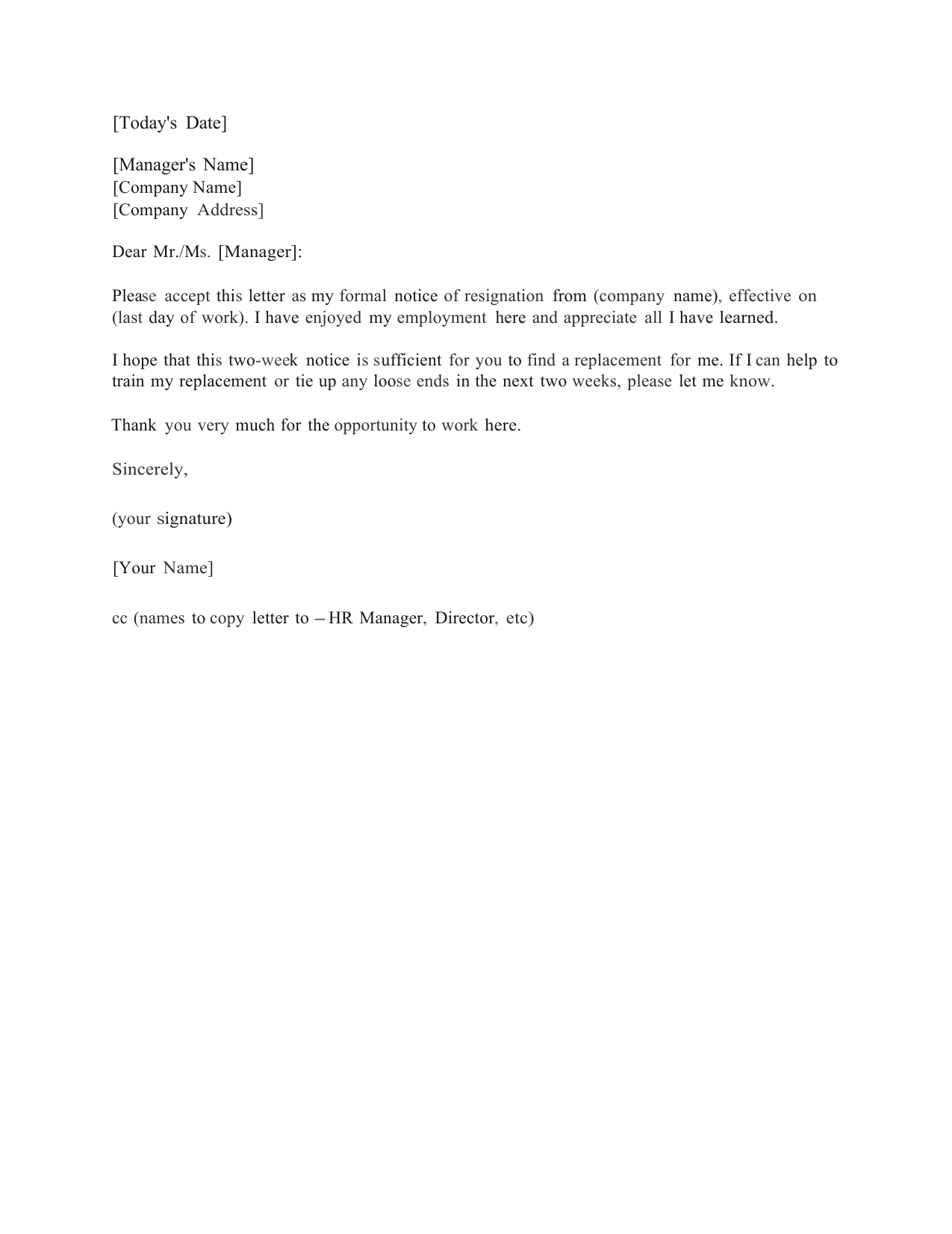 Download Standard Two (2) Weeks Notice Letter Template And Regarding Two Week Notice Template Word