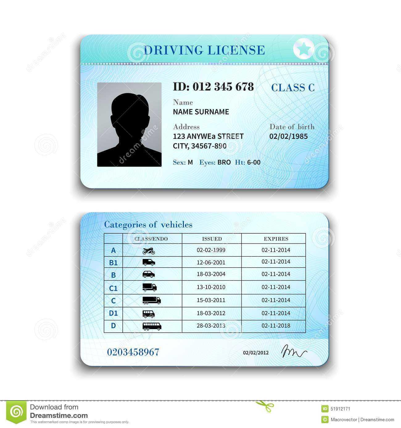 Driver License Illustration Stock Vector – Illustration Of Inside Blank Drivers License Template