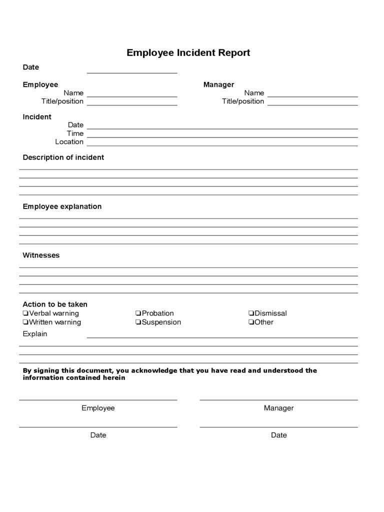 Employee Incident Report - 4 Free Templates In Pdf, Word With Incident Report Form Template Word