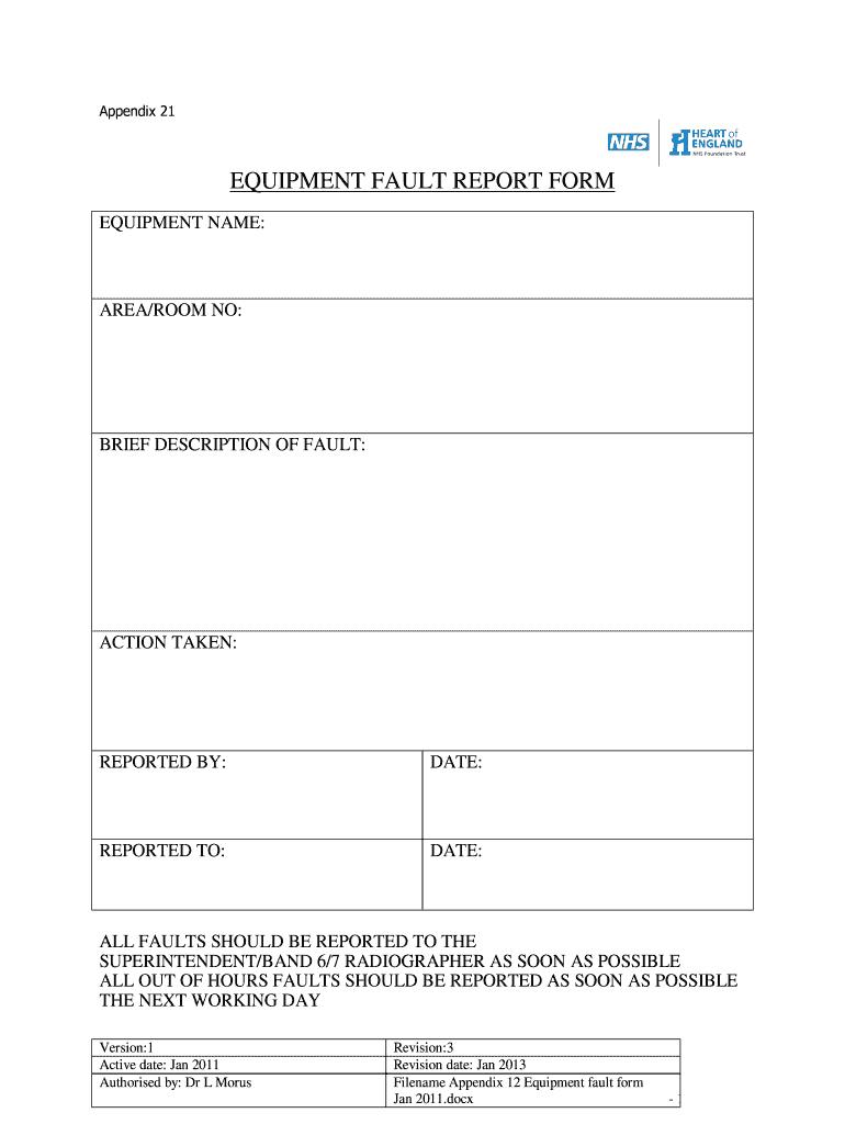 Equipment Fault Report - Fill Online, Printable, Fillable With Regard To Equipment Fault Report Template
