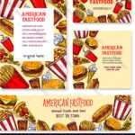 Fast Food American Restaurant Banner Template Set For Food Banner Template