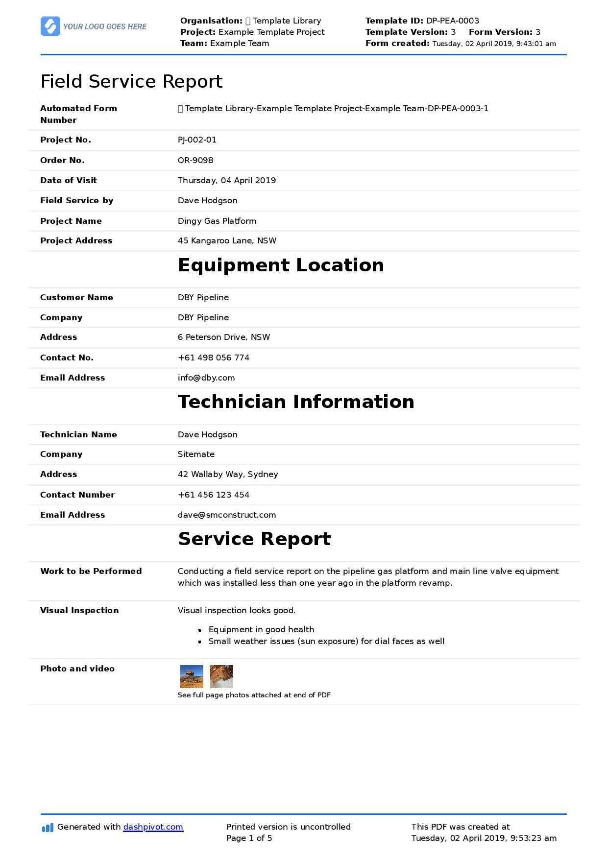 Field Service Report Template (Better Format Than Word Regarding Word Document Report Templates