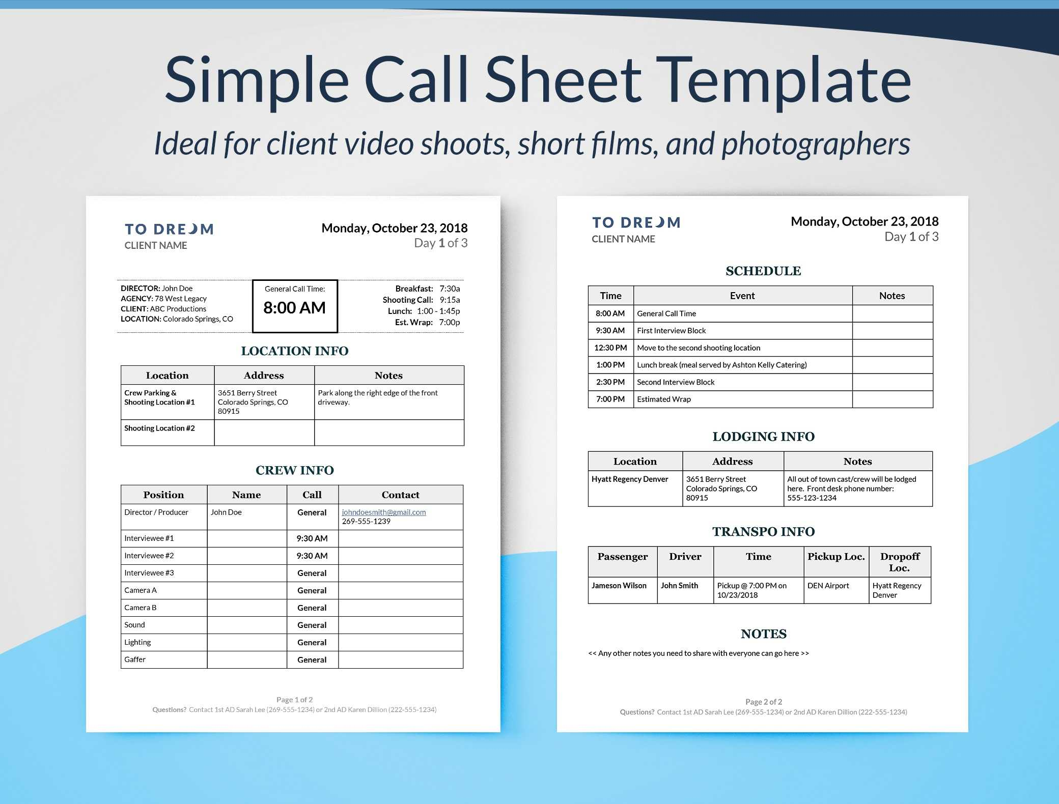 Film Production Templates – Free Downloads   Sethero With Blank Call Sheet Template
