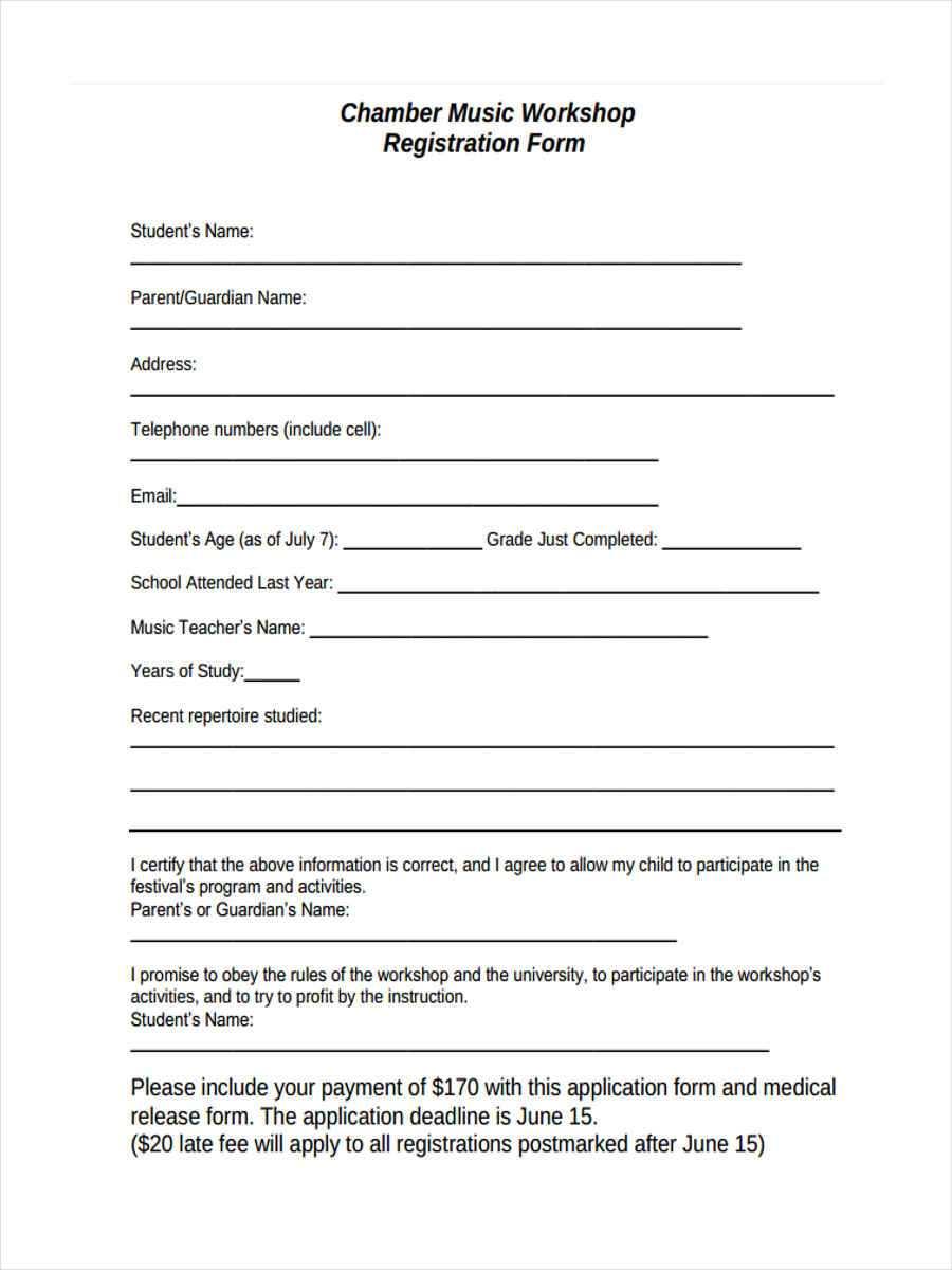 Free 10+ Sample Workshop Registration Forms In Ms Word   Pdf Within Registration Form Template Word Free