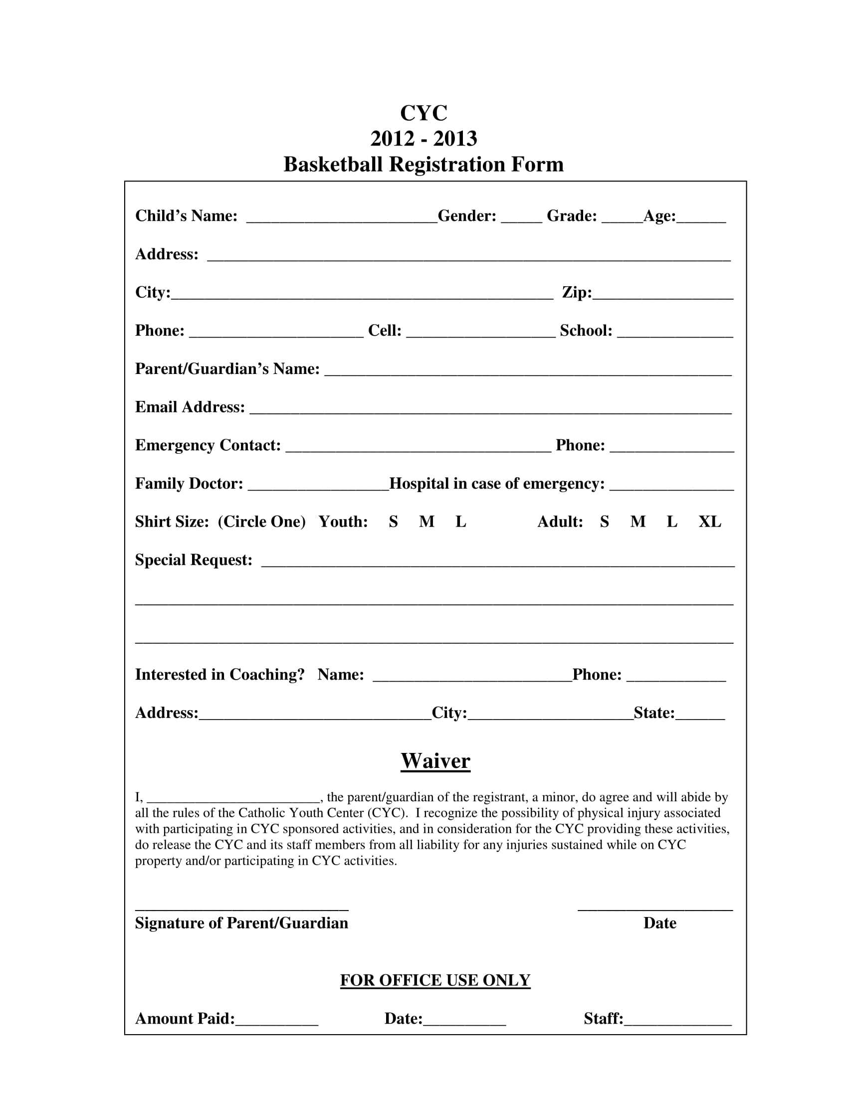 Free 11+ Basketball Registration Forms In Pdf | Ms Word | Excel Regarding Registration Form Template Word Free