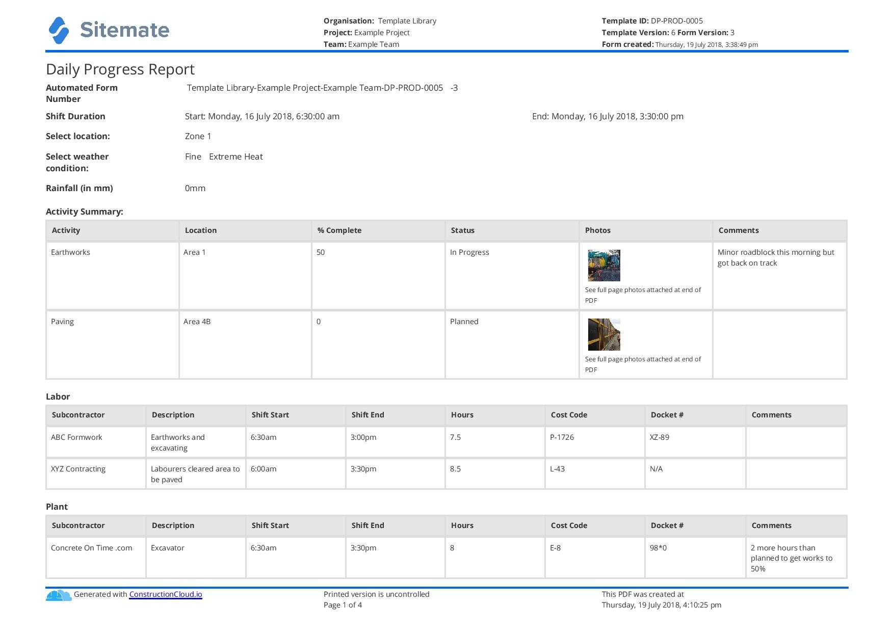 Free Construction Daily Report Template (Better Than Pdf With Regard To Daily Site Report Template