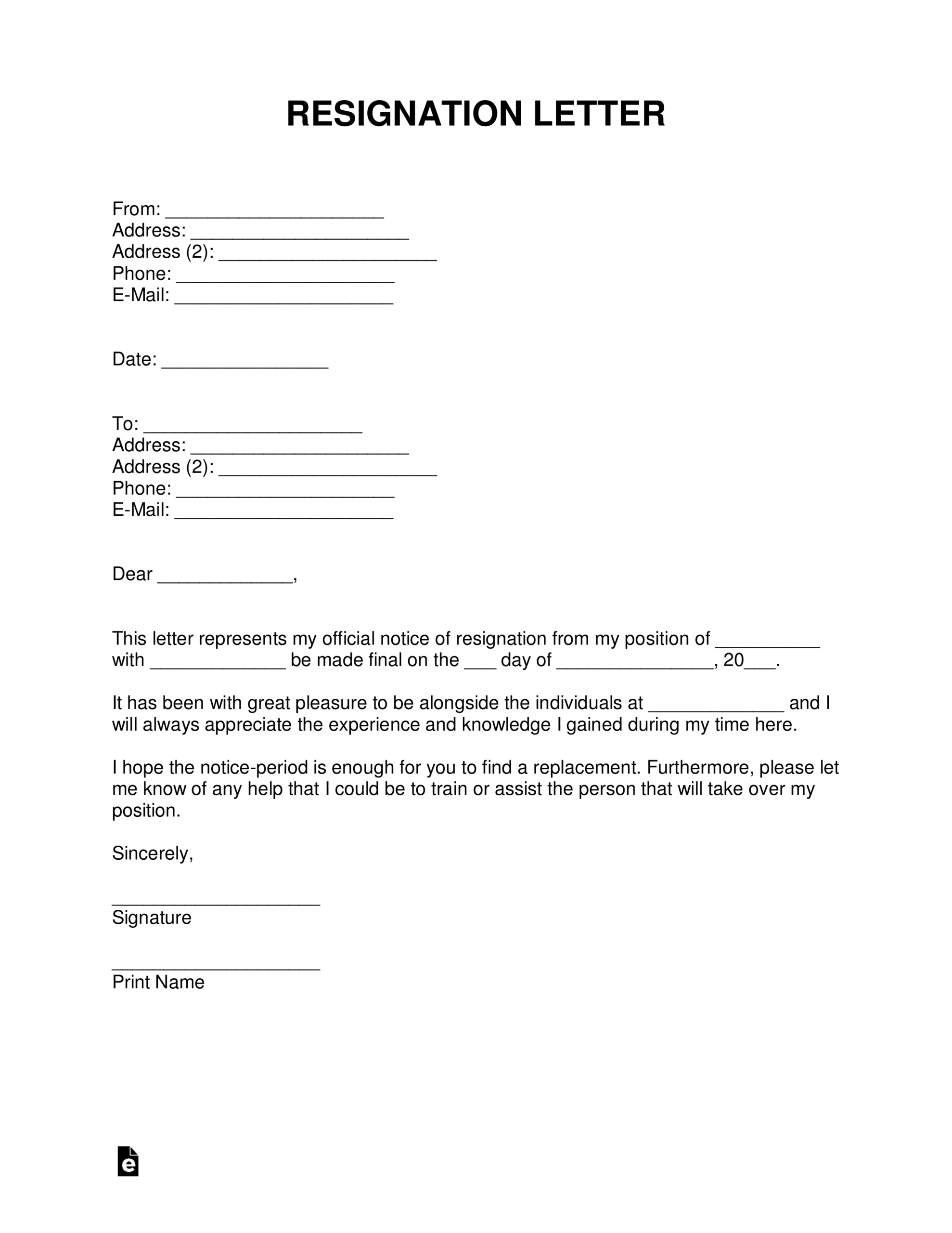 Free Resignation Letters | Templates & Samples – Pdf | Word Intended For Two Week Notice Template Word