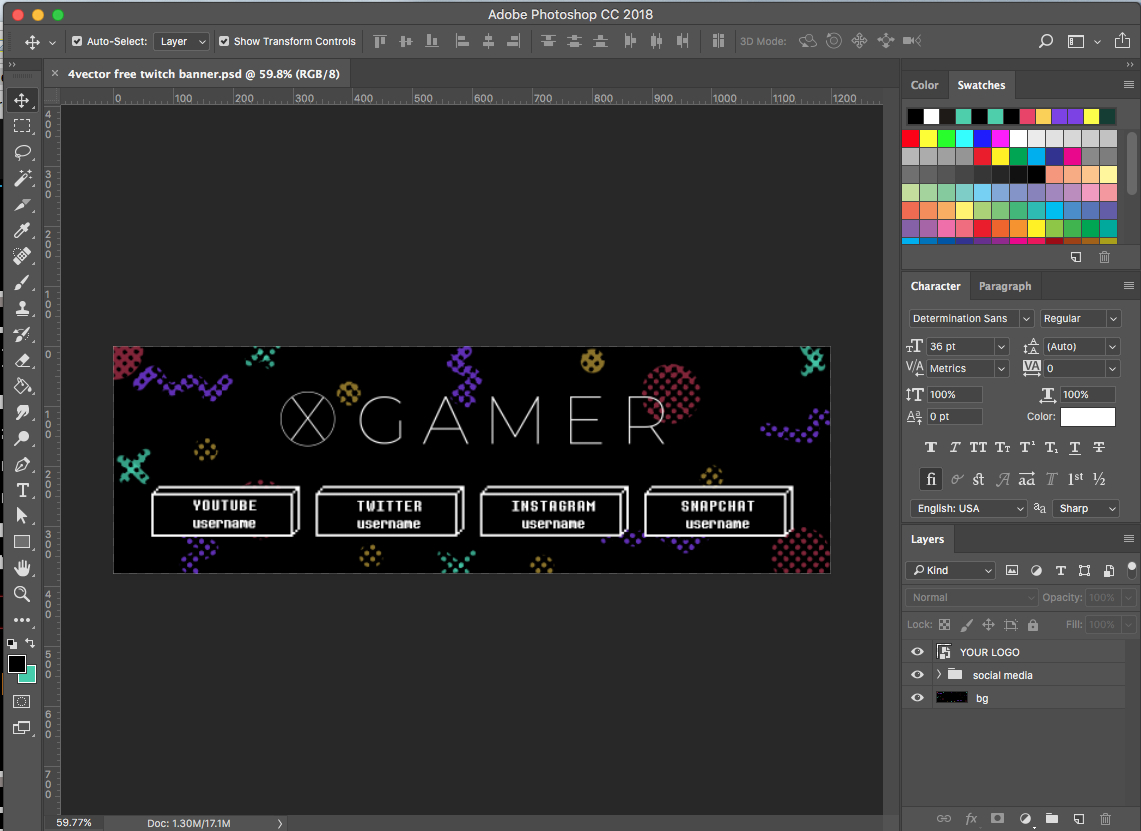 Free Twitch Banner Template In Psd (And How To) / 4Vector Within Adobe Photoshop Banner Templates