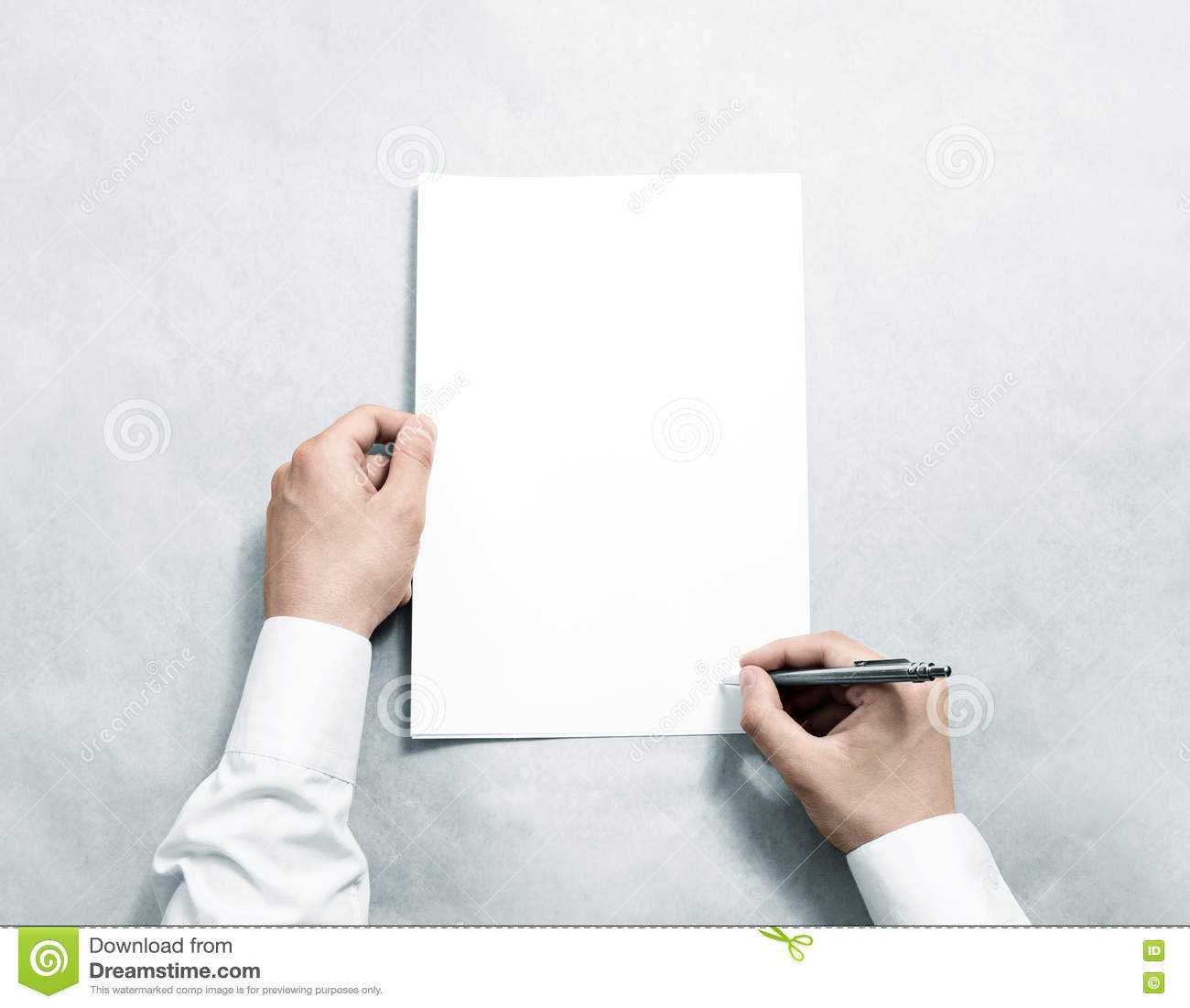 Hand Holding Blank Agreement Mockup And Signing It. Stock Inside Blank Legal Document Template