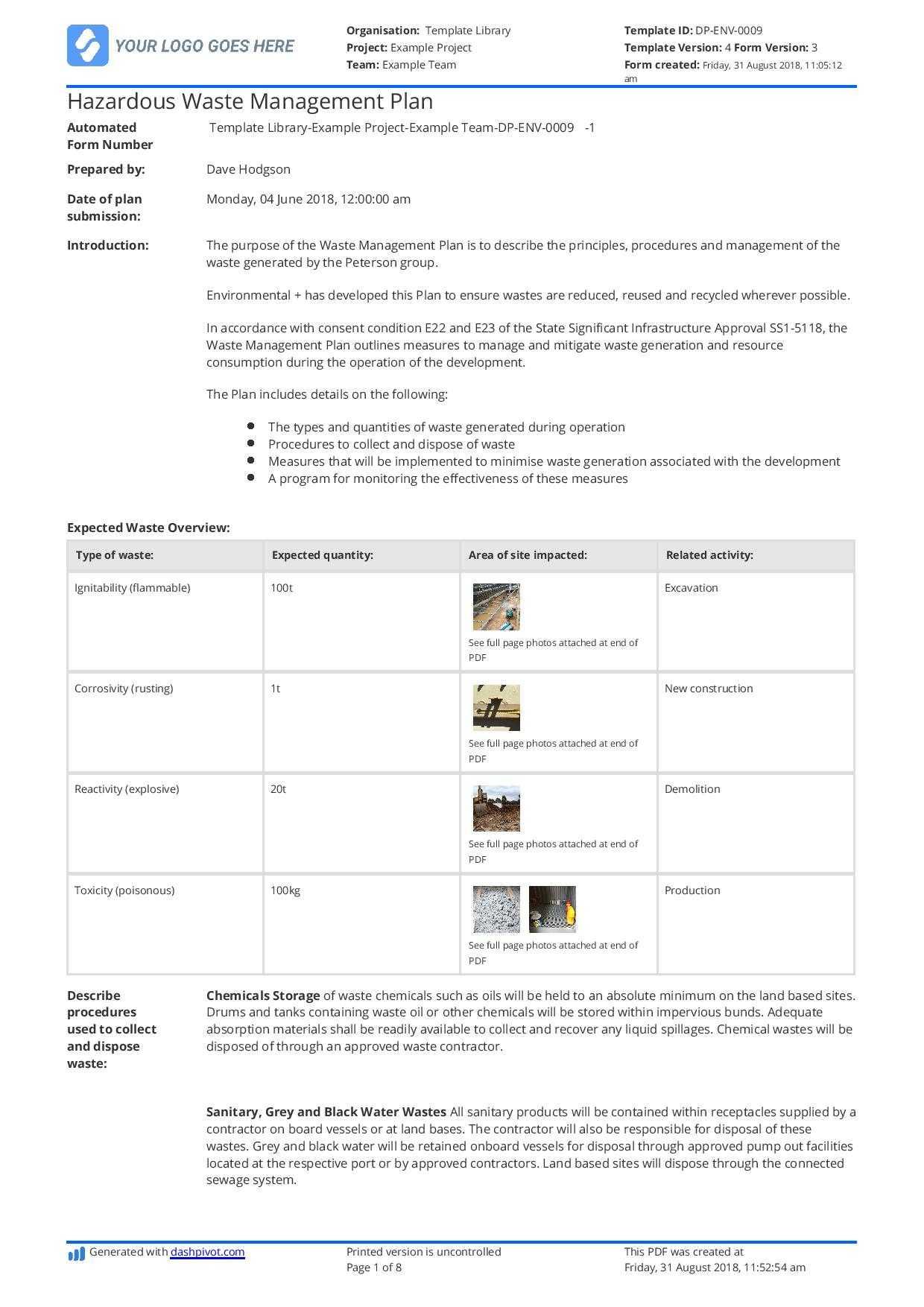 Hazardous Waste Management Plan Template - Free And Editable Regarding Waste Management Report Template