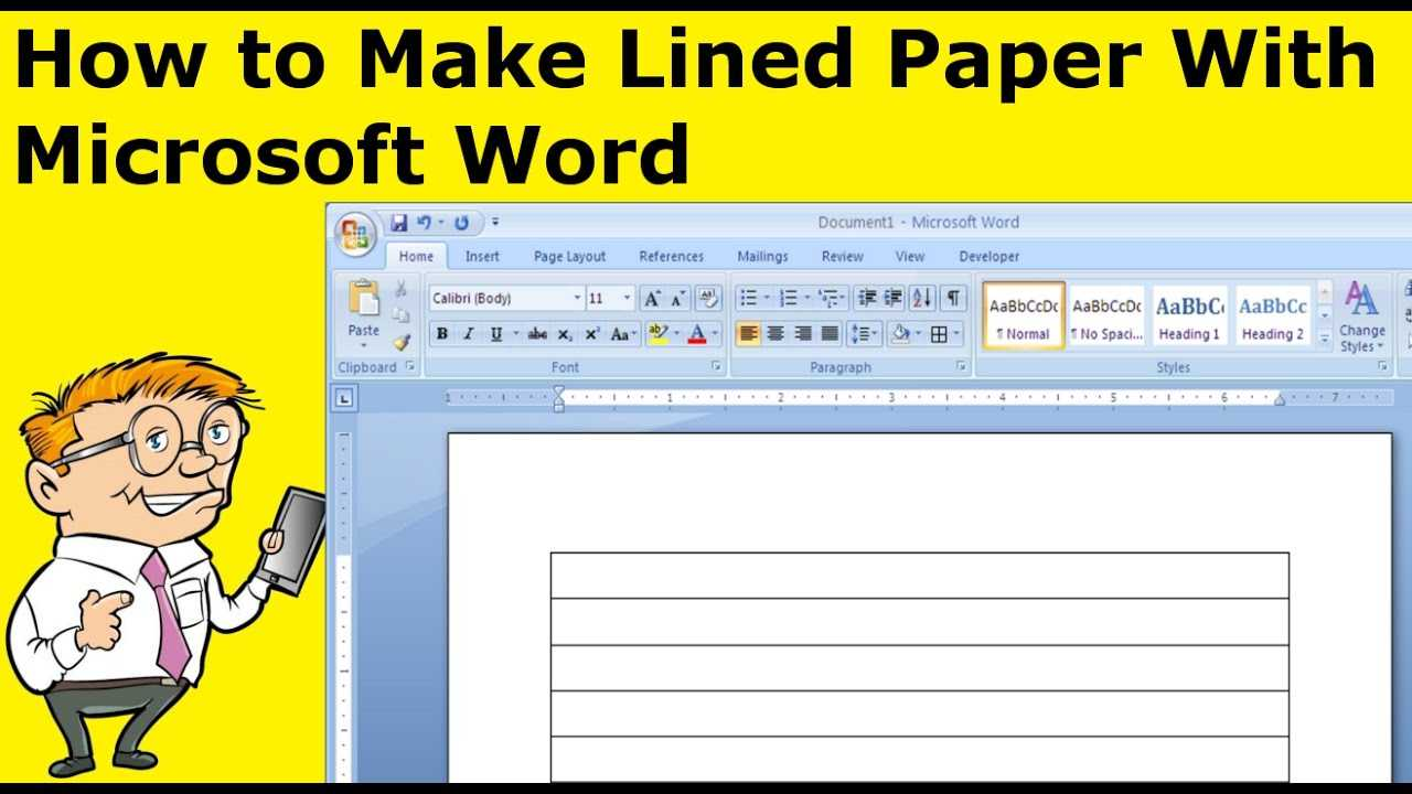 How To Make Lined Paper With Microsoft Word In College Ruled Lined Paper Template Word 2007