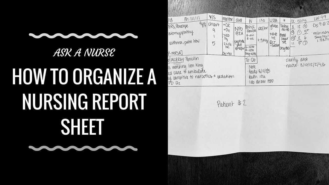 How To Organize A Nursing Report Sheet Inside Nurse Shift Report Sheet Template