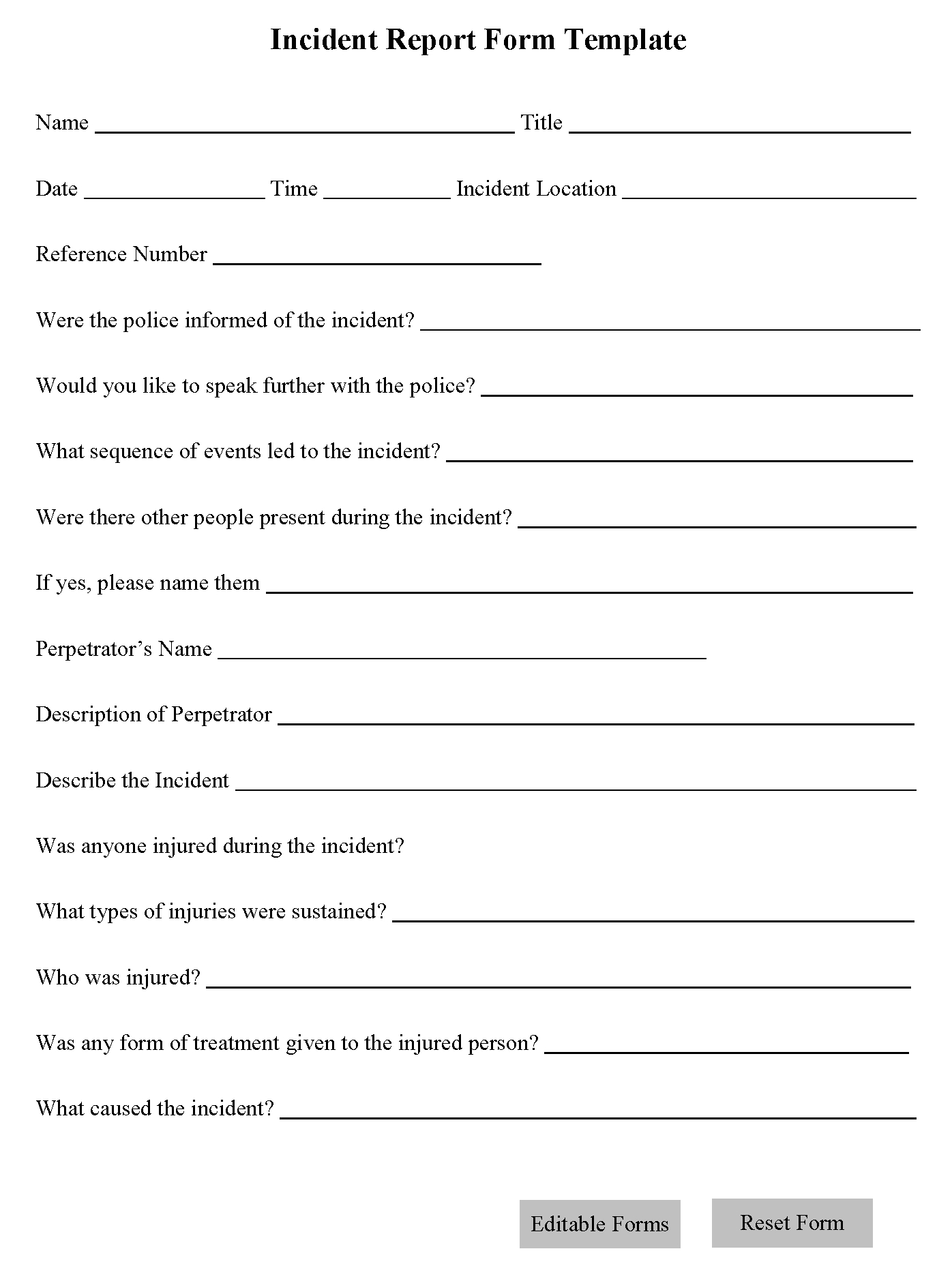 Incident Report Form Template | Editable Forms Inside Incident Report Form Template Word