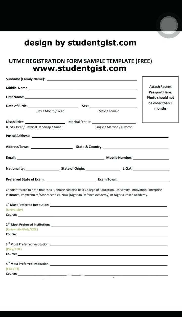 Jamb Registration Form Template Download Free Training Word For Registration Form Template Word Free