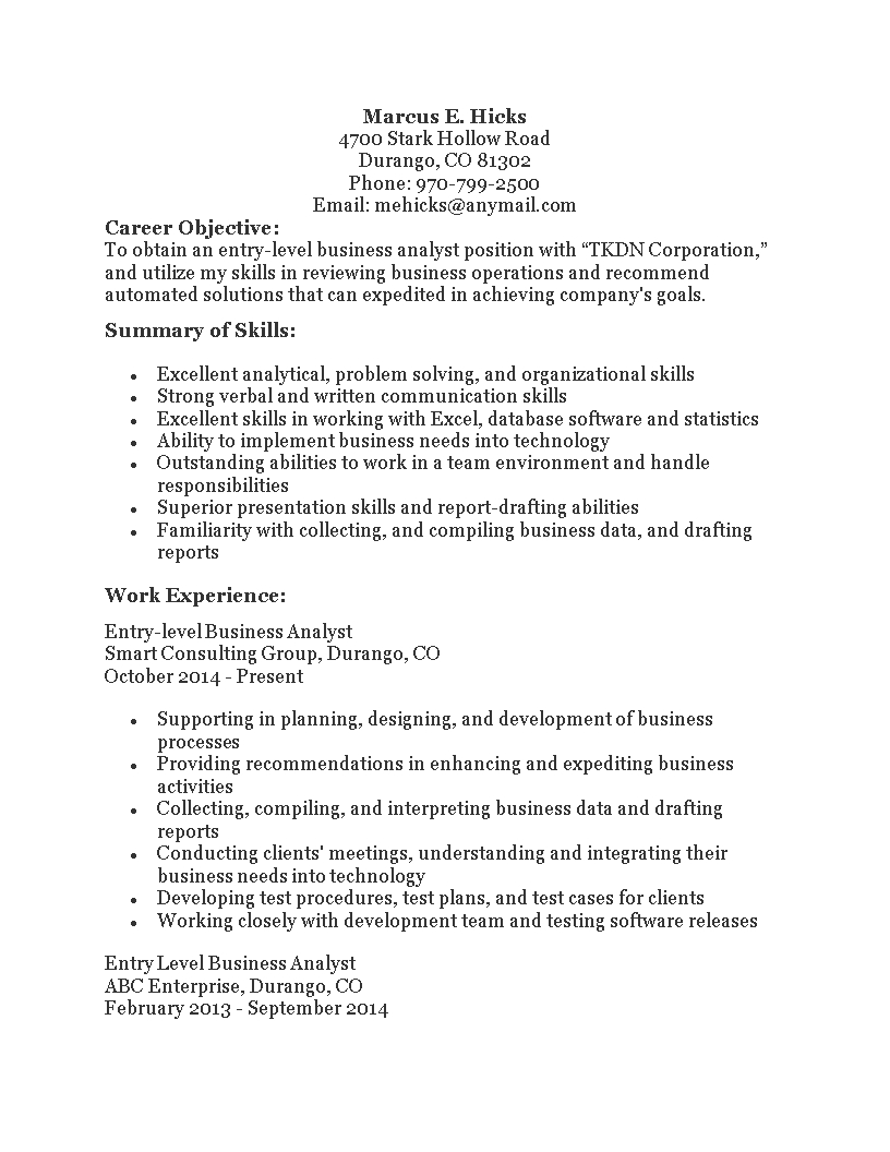 Kostenloses Entry Level Business Analyst Resume With Regard To Business Analyst Report Template