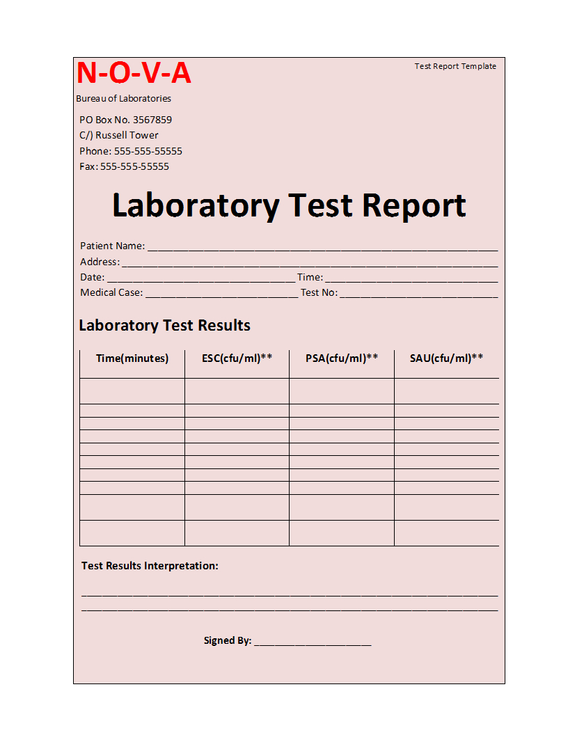 Laboratory Test Report Template With Test Result Report Template