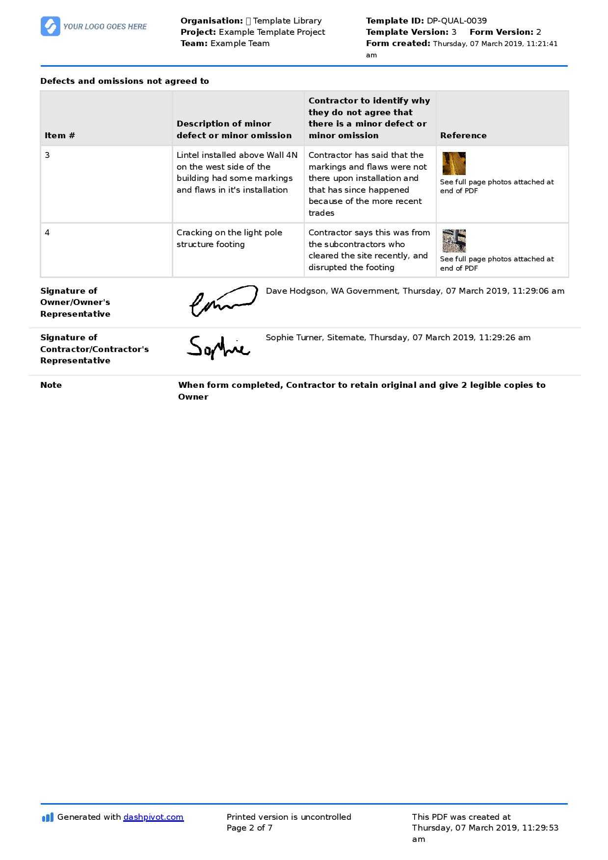 Letter To Contractor For Defective Work: Sample Letter And Inside Construction Deficiency Report Template