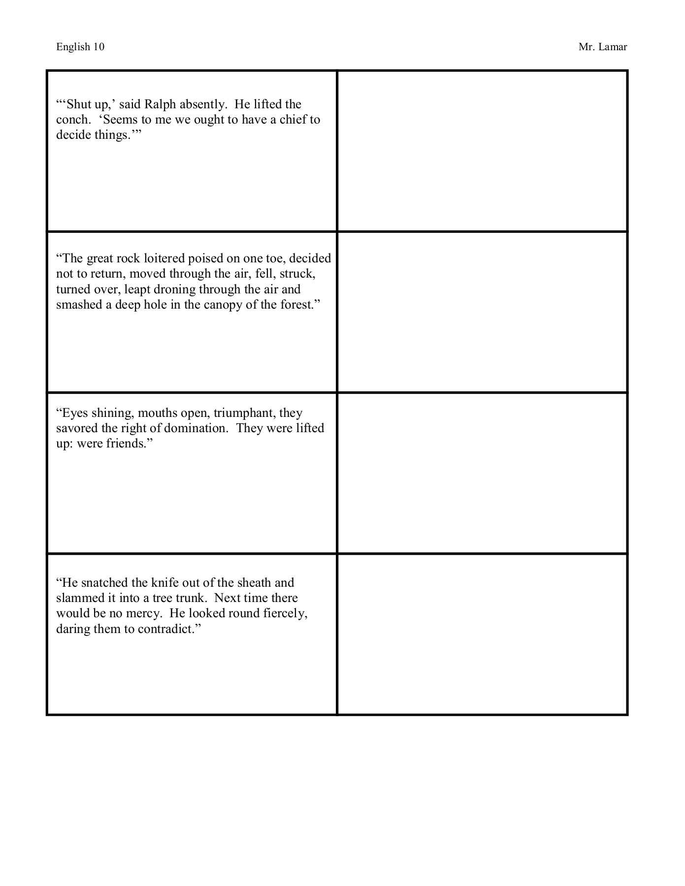 Lord Of The Flies:::: Double Entry Journals Pages 1 – 10 Intended For Double Entry Journal Template For Word