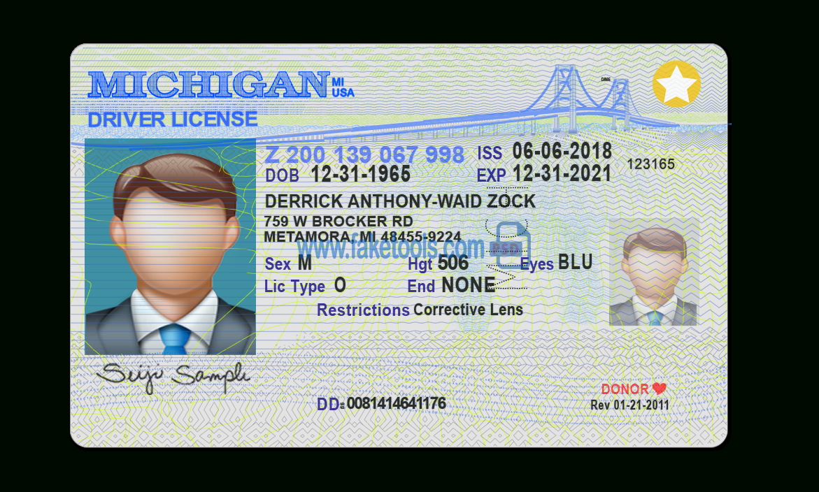 Michigan Driver License Psd Template Intended For Blank Drivers License Template