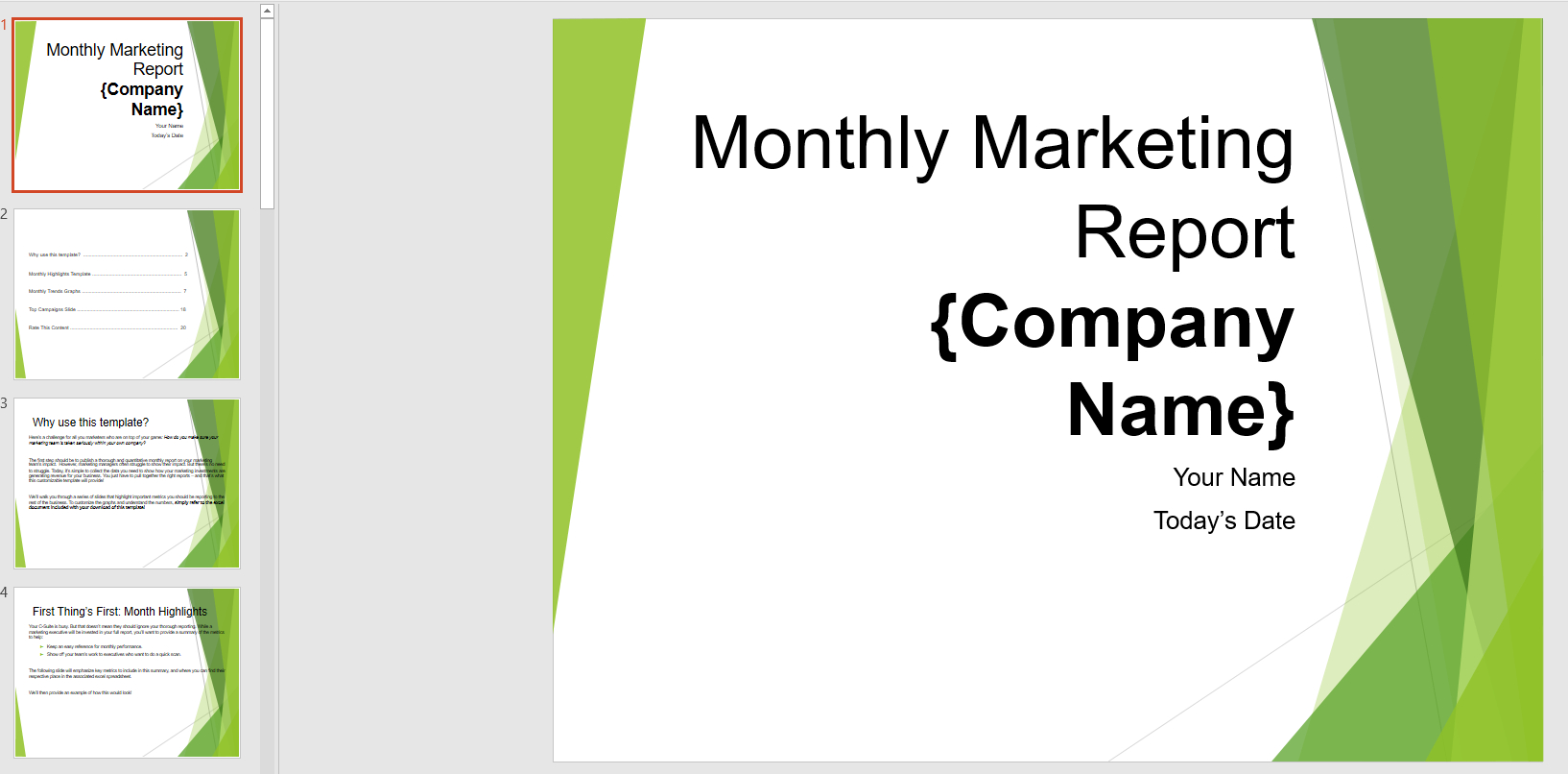 Monthly Marketing Reporting Powerpoint Template   Templates Inside Monthly Report Template Ppt