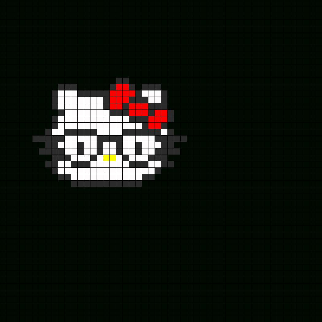 Nerdy Hello Kitty Fuse Bead Perler Bead Pattern   Bead Regarding Blank Perler Bead Template
